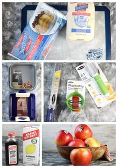 Dixie Crystals Sugar, Anolon Baking Dish and Square Springform Pan, Microplane graters, Adams flavorings and Ranier Apples photo collage Fried Apple Pies, Apple Hand Pies, Fried Pies, Cream Cheese Pie Crust Recipe, Pie Crust Recipes, Apple Recipes, Just Desserts, Apples, Springform Pan