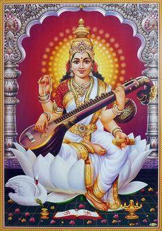 Saraswati - Goddess of Music (Laminated Glitter Poster) Hanuman Images, Durga Images, Lord Shiva Hd Images, Lakshmi Images, Ganesh Images, Lord Saraswati, Saraswati Mata, Saraswati Statue, Saraswati Goddess