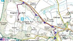 Map route for Kingston Lacy Park walk from Pamphill Green