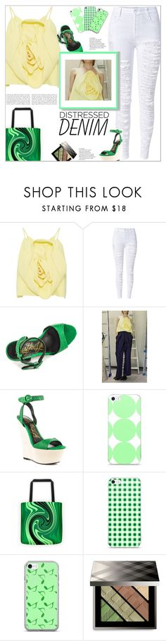 """""""Tear It Up: Distressed Denim"""" by atelier-briella ❤ liked on Polyvore featuring Kimhēkim, WithChic, Lust For Life, Music Notes, Burberry, cute, chic, iPhonecases, distresseddenim and canvastotebag"""
