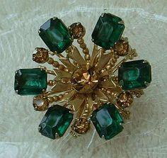 Austrian Emerald Green Topaz Crystal Brooch Vintage Jewelry