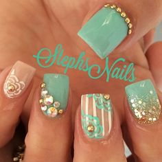"""Tealblue#nude#acrylic#stripes#roses#studs#crystals#beautifulnails#love#goldglitterombre#cutenails"""