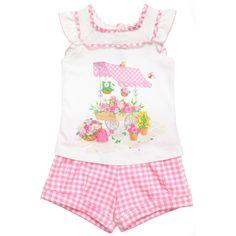 Mayoral Baby Girls White Top & Pink Gingham Shorts Set at Childrensalon.com