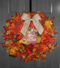 Wreath Fall Autumn Decor Bless Home Door Decoration Trend Leaves September October Housewarming Gift Wedding
