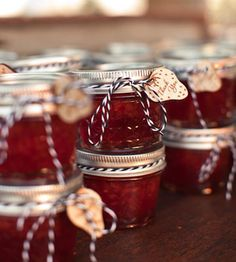 Canned strawberry jam wedding favors