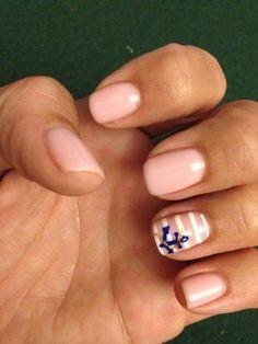 Anchor nails with stripes-opi I theo Dora you   See more nail designs at…
