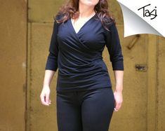 Wrap top short 3/4 or long sleeves excellent for by tasifashion, $69.00