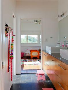 Striking Sleeping House Design in Red Exterior Design: Sleek Modern Bathroom Wooden Vanity Bley Sleeping House