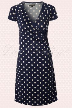 King Louie - 50s Polkadot Cross Dress in Inkblue Partypolka