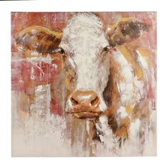 Rustic Red Cow Canvas Art Print