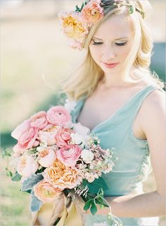 pink and peach wedding bouquet - love the combination with the mint dress