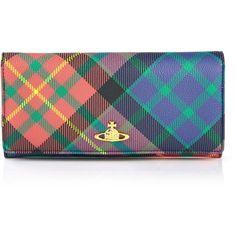 Vivienne Westwood Derby Tartan Long Wallet (250 NZD) ❤ liked on Polyvore featuring bags, wallets, mac charles, 100 leather wallet, long leather wallet, vivienne westwood, long wallet and real leather bag