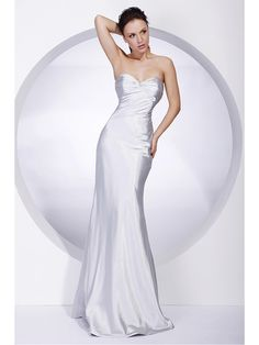 TS Couture® Military Ball / Formal Evening Dress - Silver Plus Sizes / Petite Trumpet/Mermaid Strapless / Sweetheart Floor-length Stretch Satin - USD $79.99