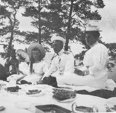 Grand Duchesses Olga and Tatiana Nikolaevna Romanova of Russia with officers and…