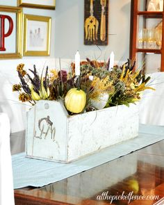 Fall Vintage Tool Box Centerpiece from At The Picket Fence