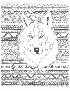 Aztec Adult Printable Coloring Page Of A Navajo And Native American Inspired Wolf