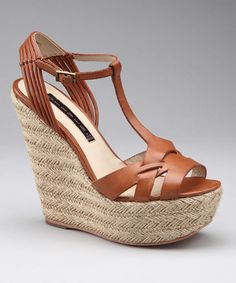 Take a look at this Cognac Wikka Wedge Sandal   by Steven By Steve Madden on #zulily today!