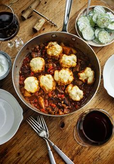 When we think of beef goulash and dumplings, we think of leftovers—for two weeks—but not when it comes to this recipe, which is perfectly measured to two servings of heavenly comfort.
