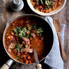 Slow-cooked lamb shank, lentil and vegetable soup | Australian Healthy Food Guide