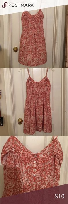 American Eagle Burnt Orange Sun Dress Burnt orange and cream floral design, 100% polyester, very light and comfy, no missing buttons, straps can be adjusted. American Eagle Outfitters Dresses Mini