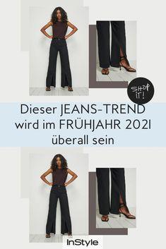 Split Hem Jeans sind super angesagt und stylish. Wetten, du wirst den Fashion Trend im Frühjahr 2021 gar nicht mehr ausziehen wollen?! #instyle #instylegermany #jeans #jeanstrend #splithemjeans #denim #fruehlingstrend