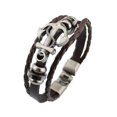 Genuine Leather Silver Plated Infinity Anchor Bracelet  for Women - ilincleather.com