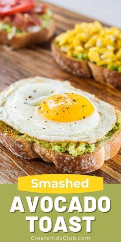 Simple and delicious breakfast toast ideas including avocado toast with scrambled eggs, fried eggs, avocado cheese toast, and the kid-favorite - avocado toast with bacon, lettuce, and tomato! Healthy Breakfast Recipes, Brunch Recipes, Healthy Snacks, Healthy Recipes, Brunch Ideas, Easy Recipes, Snack Recipes, Breakfast For Dinner, Breakfast Toast