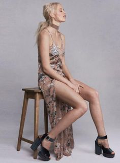 #Oasap.com - #Roawe Women's Spaghetti Strap High Slit Floral Printed Evening Dress - AdoreWe.com