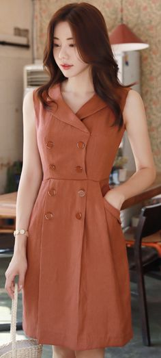 StyleOnme_Double-Breasted Linen Collared Dress #red #brown #doublebreasted ##collared #dress #chic #feminine #koreanfashion #kstyle #kfashion #summertrend #dailylook