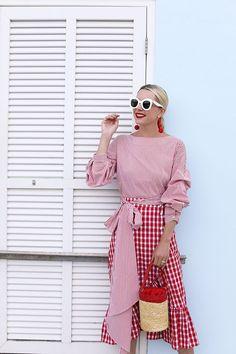 Atlantic - Pacific // Zara red gingham puffy sleeve top and ruffle skirt