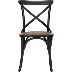 A perfect addition to your dining room or eat-in kitchen, this oak wood side chair showcases a woven seat and x-shaped back.     Produc...