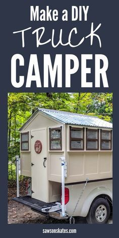 Build a DIY Camper! Use these plans to build a DIY truck camper that looks like a tiny house! It's lightweight and perfect for small pickups! #diytruckcamper #diy #woodworking #diywoodprojects #kregjig #pocketholes #diyprojects #diytutorial #freeplans #sawsonskates