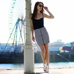 Nasty Gal Skirt, American Apparel Body, Office Sandals, Sunnies - The Pier. - Anouska Proetta Brandon
