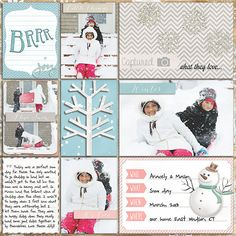 Cute winter themed #projectlife page.  Love the glittery snowflakes and the bare tree die cut