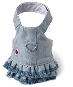 Amazon.com : Doggles Dog Harness Dress with Jean Fringe, Blue, Extra Small : Pet Dresses : Pet Supplies