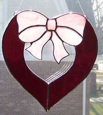 Ruby Red Stained Glass Heart Suncatcher with Pink Bow