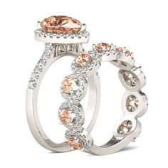 Jeulia Pear Cut Halo Created Champagne Sapphire Wedding Set 3.85CT