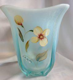 Fenton Art Glass Hand Painted Flip Square Vase Sand Petals Aqua MIB 81557T
