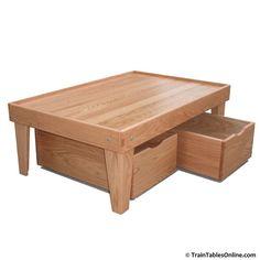 Custom Made Red Oak Train Table And Storage Bin Package