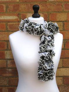 Grey Bobble Scarf Grey Ruffle Scarf Knit by LookingGlassDesigns1, £15.50