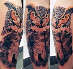 Night Owl Tattoos For Guys On Leg Calf