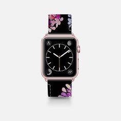 Leather Watch Band -  purple flowers on black apple watch