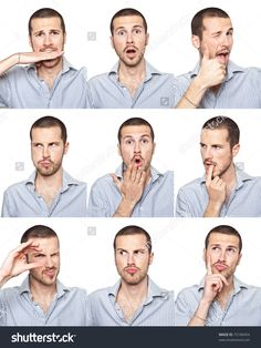 Young Man Face Expressions Composite Isolated On White Background 写真素材 75189454 : Shutterstock