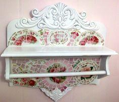 Stunning Antique Shelf with Towel Bar Shabby Rose by hillspeak.