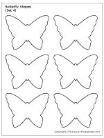 Six printable butterfly shapes to use as stencils or patterns. You can also decorate them into fun butterfly crafts. Butterfly Cutout, Butterfly Stencil, Butterfly Project, Fabric Butterfly, Butterfly Template, Paper Butterflies, Butterfly Shape, Butterfly Crafts, Flower Template