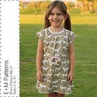 Girl's Dress No. 21 PDF - E+M Patterns - size 2 thru 10