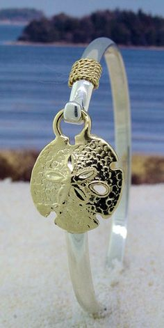 14K Gold Sand Dollar with Gold Rope on Sterling Silver Bracelet