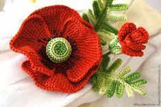 ergahandmade: Big Crochet Poppy + Free Pattern Step By Step Poppy Crochet, Crochet Poppy Free Pattern, Débardeurs Au Crochet, Crochet Brooch, Crochet Flower Tutorial, Crochet Leaves, Crochet Flower Patterns, Crochet Diagram, Irish Crochet
