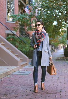 plaid scarf grey coat3