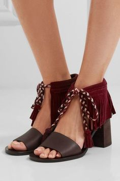 Heel measures approximately 75mm/ 3 inches Burgundy suede, dark-brown leather Ties at ankle  Designer color: Bordeaux  Imported